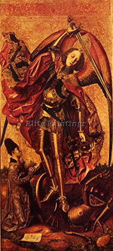 BERMEJO BOLOMEO CARDENAS ST MICHAEL DRAGON BILDER BILD GEMALDE MALEREI KUNST 65x30cm MUSEUMSQUALITÄT -