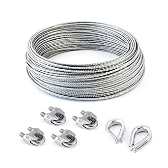 2 turnbuckles eye-hook M4 many sizes avaliable 6 clips SET 20m wire rope stainless steel strand:7x7 3mm many sizes avaliable