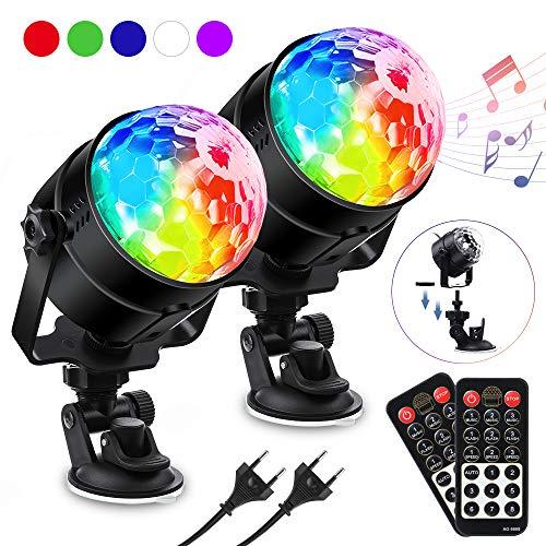 LED Discokugel Kinder, SOLMORE Discolicht RGBWP Lichteffekt 360°Drehbares, Disco Ball 7 Farben, 8 Modi Led Partylicht mit Fernbedienung, Musik aktiviert für Kinder, Party