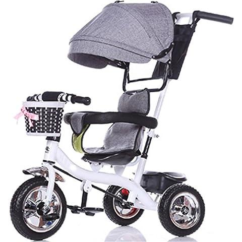 Enfant à l'intérieur de l'extérieur Petit vélo Tricycle Bicyclette Vélo vélo pour fille de 6 mois -6 ans Bébé Three Wheels Trolley Awning, Solid Plastic Wheel ( Couleur : #12 )
