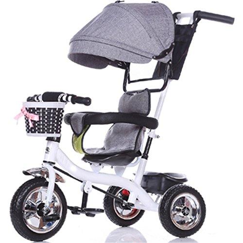 Enfant à l'intérieur de l'extérieur Petit vélo Tricycle Bicyclette Vélo vélo pour fille de 6 mois -6 ans Bébé Three Wheels Trolley Awning, Solid Plastic Wheel