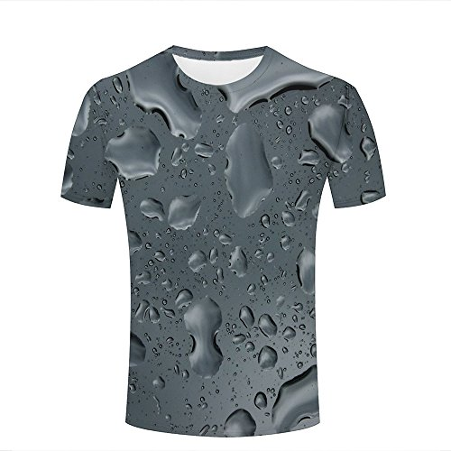 qianyishop 3d Print T Shirts Leaf Drop Water Nature Graphics Men Women Couple Fashion Tees A