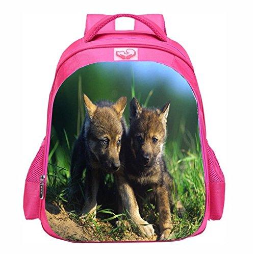 Moolecole Mädchen Schule Tasche Welpen Daypack Rucksack Cartoon Rosa Rucksack Schultertaschen Buchbags dog2