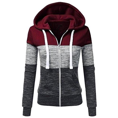 SHOBDW-Manteaux-Hiver-Femme-Chaud-Veste–Capuche-Hoodie-Casual-Sweatshirt-Jumper-Sport-Hauts-Tops-Pullover-Blouse-Blouson-Mode-Beige-RougeS-XL