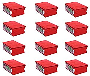 Kuber Industries™ Saree Cover Set of 12 Pcs in Non Woven Material (Red)