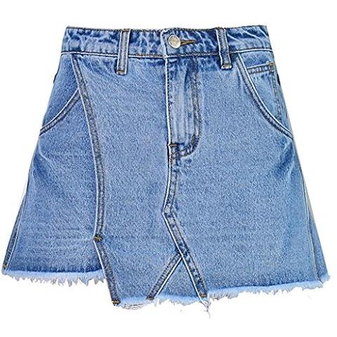 Byjia Women High Waist Slim Wide Leg A Irregular Shorts Washed Tassel Jeans Skirt . Blue . 36