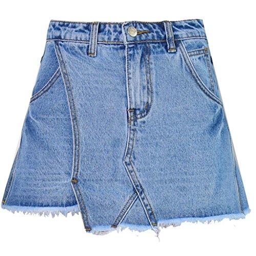 Wgwioo Frauen Hohe Taille Dünnes Breites Bein Ein Unregelmäßiger Kurzschlüsse Gewaschener Troddel Jeansrock . Blue . 38 (Pyjama Cotton Green)