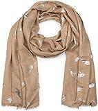 styleBREAKER sciarpa con stampa metallica a piume, foulard a frange, donna 01017052, colore:Marrone