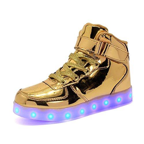 Rojeam Unisex Erwachsene High-Top LED Schuhe Sportschuhe USB Lade Outdoor Leichtathletik Beiläufige Paare Schuhe Sneaker Für Damen Herren Jungen Mädchen Kinder Gold 38 EU - Licht Gold Kinder Schuhe