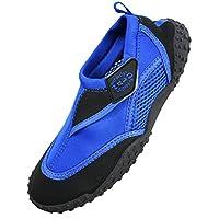 Nalu Hook & Loop Aqua Surf / Beach / Wetsuit Shoes (Kids UK 8 / EU 26, Blue with Black Trim)