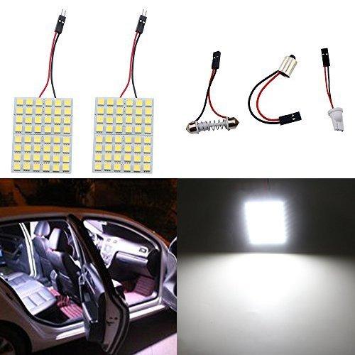Grandview 2pcs Super Luminoso Bianco 5050 48-SMD LED Pannello di Illuminazione a Risparmio Energetico Lampada Auto Interno Piastra di Lettura Luce Tetto Soffitto Lampada Cablata Interna (12V DC)