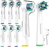 Sensowhite® 8 Stück Aufsteckbürsten Variety Pack für Oral-B elektrische Zahnbürsten, 2 Bürsten von jedem Typ / Zahnbürstenaufsätze ist voll kompatibel mit Braun Oralb Vitality, Pro Health, TriZone...