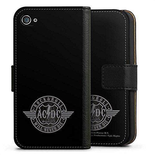 Apple iPhone 7 Plus Silikon Hülle Case Schutzhülle ACDC Rock and Roll Offizielles Lizenzprodukt Sideflip Tasche schwarz