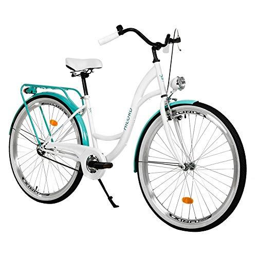 Milord. 28 Zoll 3-Gang Weiß Aquablau Komfort Fahrrad mit Gepäckträger Hollandrad Damenfahrrad Citybike Cityrad Retro Vintage