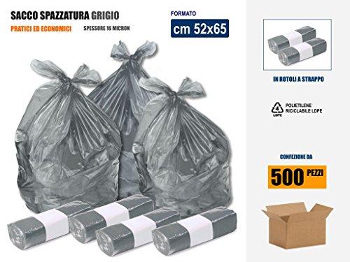 SACCHI SPAZZATURA IN PLASTICA PE-LD COLORE GRIGIO Cm 52x65 (35 litri) - SCATOLA DA 500 SACCHETTI