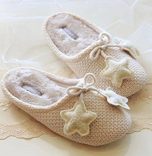 Minetom Donne Autunno E In Inverno Morbido Interno Antiscivolo Pantofole Decorato Con Stelle Beige
