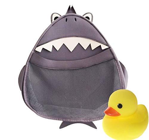 Medlee Hai-Tasche - Spielzeug und Badezimmer-Organizer mit Tiermotiv für Kinder - Gratis Gummiente - perfekte Aufbewahrung für die Badewanne