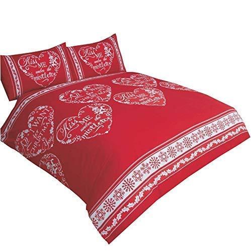 Weihnachten Liebe Herzen All I Want Schneeflocken Rot Weiß Doppel (Einfarbig Rot Passendes Leintuch - 137 X 191cm + 25) Einfarbig Rot Hausfrau Kopfkissenbezüge 6 Stück Bettwäsche Set (6 Stück Tröster)