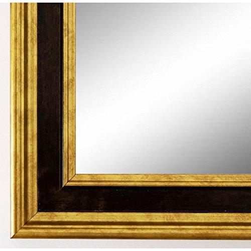 Wandspiegel Spiegel Badspiegel - Hamburg 3,4 - Gold / Schwarz - 50 x 70 - Außenmaß inkl. Massivholz-Rahmen - viele Größen verfügbar - Modern, Barock, Antik, Vintage