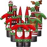 Boao 12 Stück Weihnachten Wein Flasche Abdeckung Stricken Pullover Weinflasche Kleid Santa Rentier Schneemann Weinflasche Abdeckung für Weihnachtsschmuck Weihnachten Pullover Party Dekorationen