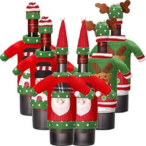 6 Sets Weihnachten Weinflasche Abdeckung Stricken Pullover Weinflasche Kleid Santa Rentier Schneemann Weinflasche Abdeckung für Weihnachtsschmuck Weihnachten Pullover Party Dekorationen (Farbe 1)