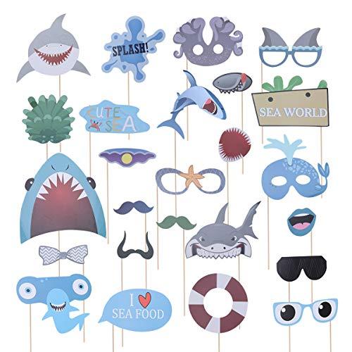 Toyandona 25 Stück Hai-Foto-Kabinen-Requisiten Haifisch-Party-Dekoration für Kinder und Erwachsene (Party Favors Nautische)