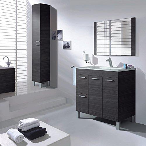 homevanity Aktiva Badezimmerschrank, 2Türen, 2Schubladen, Spiegel und Waschbecken–Esche Grau 800 (2 Tür, 2 Schublade Eitelkeit)