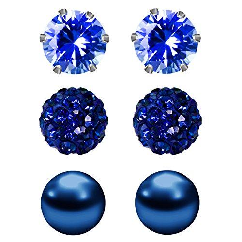 JewelrieShop 3 Pairs Stud Earrin...