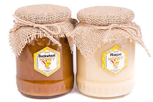 Miel de alforfón y miel de colza de Polonia. Miel fresca. Sin pasteurizar, miel cruda. 2 kg Miel polaco directamente del apicultor.