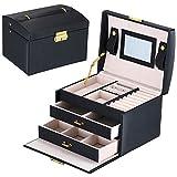 DCCN Schmuckkasten Elegant PU Leder Schmuckkoffer Schmuckschatulle Kosmetikkoffer mit 2 Schubladen Spiegel - Schwarz