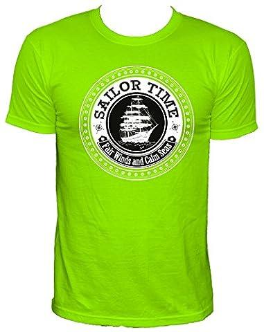 NEON Sailor Parti temps t-shirt pour hommes, vert néon, XL