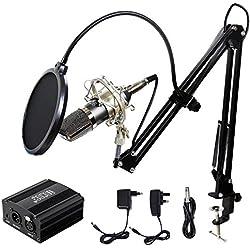 Tonor XRL 3.5mm Micrófono Condensador Profesional para Computadora Podcast Estudio con Soporte de Micrófono Ajustable, Filtro Anti-Pop, 48V Phantom Fuente de Alimentación y EU AC Plug Convertidor Negro