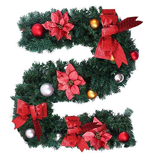 78Henstridge 180cm Weihnachtsgirlande Künstliche Tannengirlande Tannenzweiggirlande Weihnachtsdeko Innen- und Außendekoration (Rot, 1 Stücke)