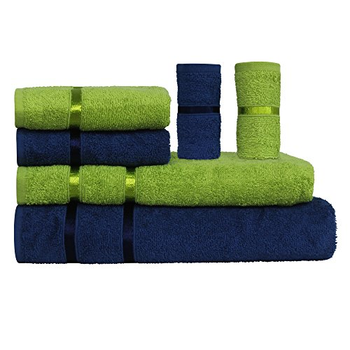 Story@Home 6 Piece 450 GSM Cotton Towel Set - Navy and Lime