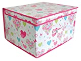 Pack of 2 Love Hearts & Flowers Large Jumbo Pop Up Bedding Clothes Toy Storage Chest Foldable Room Tidy