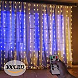 LED Lichterkette Innen,3m*3m 300 LEDs Lichtervorhang Vorhang Licht mit 8 Lichtmodi LED Fairy Lights Curtain for Christmas Decoration Party Fixed Waterproof IP65 Dimmable Warm White [Energy Class A ++]