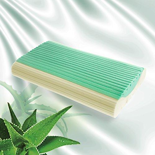 Goldflex - Almohada viscoelástica de GEL con ALOE VERA natural, antiácaros y con 2 modalidades de uso - revestida con tejido de punto de ALGODÓN 100%