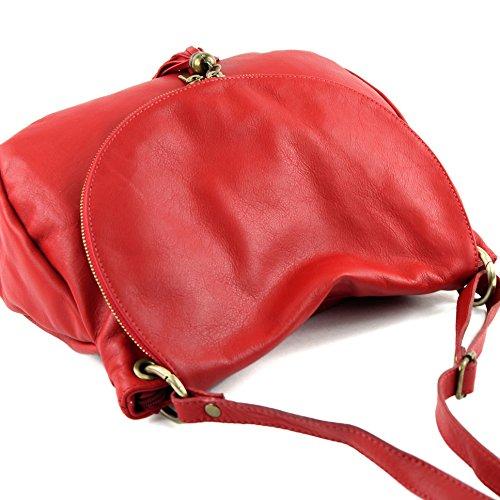 modamoda de - ital. Ledertasche Damentasche Schultertasche Umhängetasche Nappaleder T40 Kirschrot