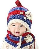 écharpe chapeau ensemble, Kfnire infantile bébé garçons filles enfant en bas âge automne hiver chapeau écharpe (bleu foncé)