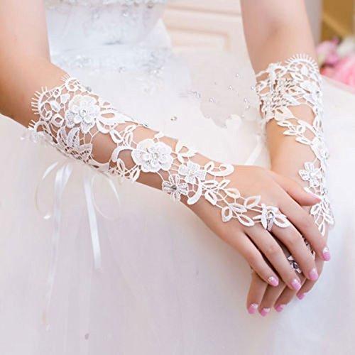 Gazechimp Hochzeit Braut Fingerlose Handgelenk Spitzenhandschuhe voller Spitze Abschlussball Party Zubehör (Länge Ellenbogen Satin-abend-handschuhe)