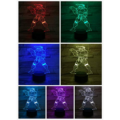 Capteur tactile de bande dessinée de nuit de la lumière 3D LED enfants 7 couleurs de bureau lampe de chevet Comics