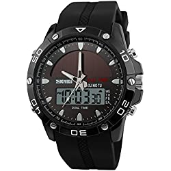 Men's Solar Power Military Dual Time Zones Slide Rule Silicone Band Sports Wrist Watch