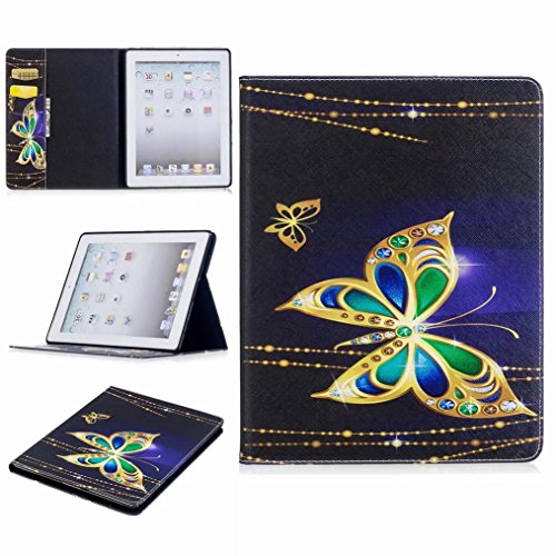 Price comparison product image LEMORRY for Apple iPad2 iPad3 iPad4 Case Leather Flip Cover Wallet Pouch Soft TPU Slim Fit Bumper Stand Protective Magnetic Strap with Card Slot