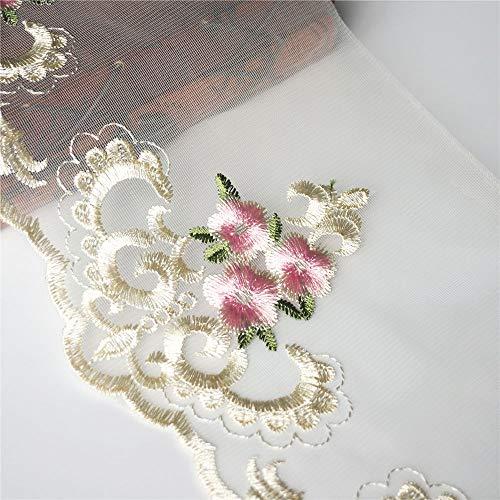 Dreamshome 2 Meter Pflaumenblüte Spitzen-Band 16 cm Breite Vintage Netz-Besatz Stoff Bestickt...