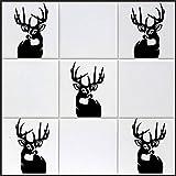 10 x Hirsch Aufkleber in 'XL' ca. 15 cm aus Hochleistungsfolie, für Fliesen, Autos, Wände , und alle glatten Flächen, BD WC Sticker Fliesebaufkleber viele Farben zur Auswahl