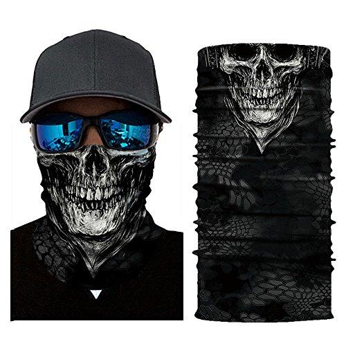 Wrily Skeleton Sturmmaske Totenkopf Schal Skull Bandana Multifunktionstuch Kopftuch Schlauchtuch Halstuch Ski Motorrad Paintball Halloween Maske