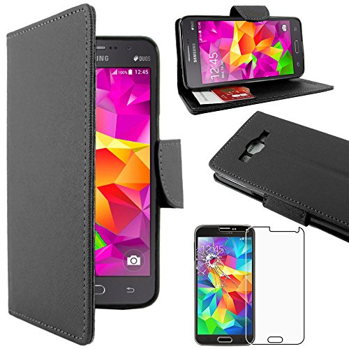 "ebestStar - Compatible Funda Samsung Grand Prime Galaxy G530F, Value Edition G531F Carcasa Cartera Cuero PU, Funda Billetera Ranuras Tarjeta, Negro + Cristal Templado [Aparato: 144.8x72.1x8.6mm 5.0""]"