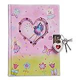 Beautiful Fairy & Butterfly Kids Secret Diary (Lockable Diary With Padlock & Keys) Pink Glittery Kids Diary - Lucy Locket