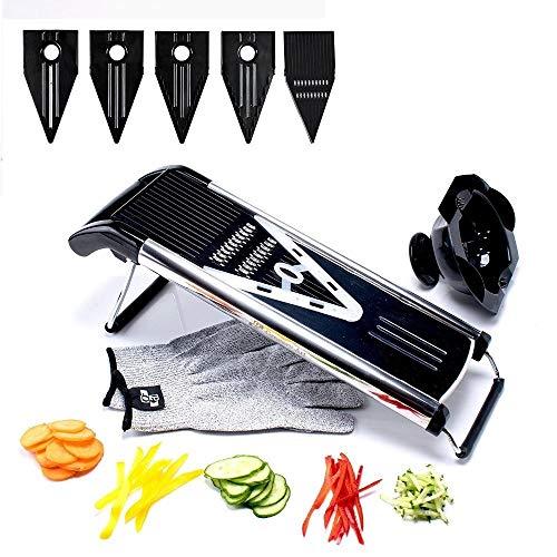 ZHANGDONGLAI Professionelle multifunktionale V-Slicer Mandoline Slicer Food Chopper Obst & Gemüse Cutter mit 5 Klingen Küchenhelfer (Color : Black) V-slicer-mandoline