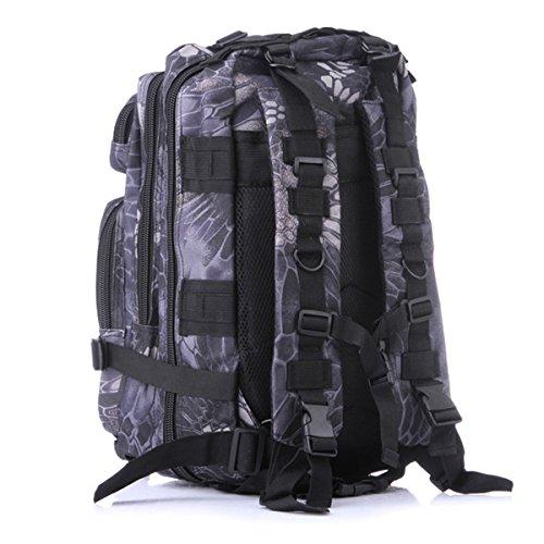 25L Fans dell'esercito Tattico Zaino - WinCret Forte 3P Zaini da Militare Sacchetto da viaggio Zaini da escursionismo per il Campeggio e Altre attività all'aperto Black-python striscia